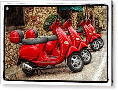 Red Vespas Acrylic Print by Mauro Celotti