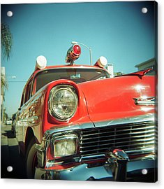 Red Vintage Ambulance Acrylic Print