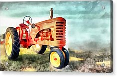 Red Vintage Tractor Acrylic Print by Edward Fielding
