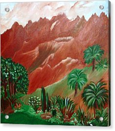 Acrylic Print featuring the painting Red Volcano by Sherri  Of Palm Springs
