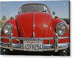 Red Volkswagen Beetle Acrylic Print by Georgia Fowler