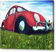 Red Vw Acrylic Print by Dean Glorso