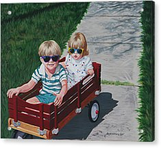 Acrylic Print featuring the painting Red Wagon by Penny Birch-Williams