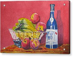 Red Wall Blue Wine Acrylic Print by Libby  Cagle