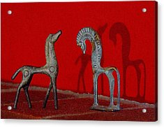 Acrylic Print featuring the digital art Red Wall Horse Statues by Jana Russon