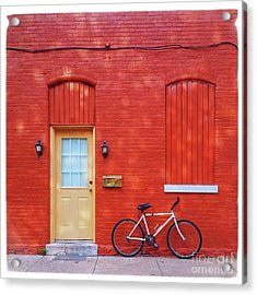 Red Wall White Bike Acrylic Print