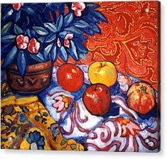 Red Wallpaper Acrylic Print by Paul Herman