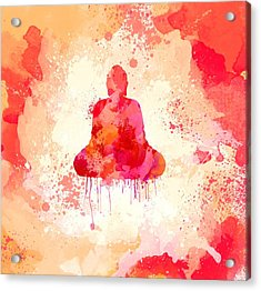 Red Watercolor Buddha Paining Acrylic Print