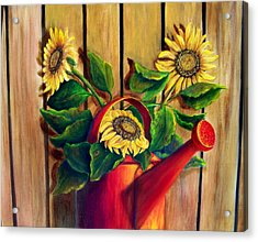 Acrylic Print featuring the painting Red Watering Can With Sunflowers by Susan Dehlinger