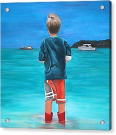 Red Wellies Acrylic Print by Fiona Jack