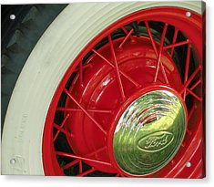 Red Wheels Acrylic Print by Richard Mansfield