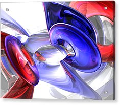 Red White And Blue Abstract Acrylic Print by Alexander Butler