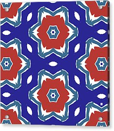 Red White And Blue Star Flowers 2 - Pattern Art By Linda Woods Acrylic Print