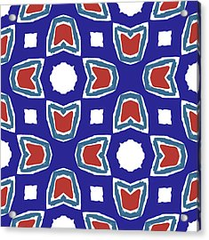 Red White And Blue Tulips Pattern- Art By Linda Woods Acrylic Print by Linda Woods