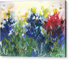 Red White And Bluebonnets Watercolor Painting By Kmcelwaine Acrylic Print