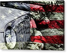 Red White And Jeep Acrylic Print