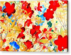 Acrylic Print featuring the photograph Red Wild Flowers by Marianne Dow