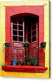 Red Window Acrylic Print by Mexicolors Art Photography