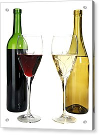Red Wine And White Wine In Cut Crystal Wine Glasses  Acrylic Print