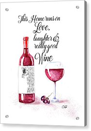 Acrylic Print featuring the digital art Red Wine by Colleen Taylor