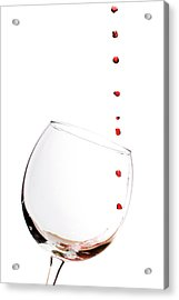 Red Wine Drops Into Wineglass Acrylic Print by Dustin K Ryan