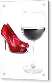Red Wine Glass Red Shoes Acrylic Print by Dustin K Ryan