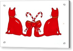 Red Xmas Ribbon Cats Acrylic Print by Rachel Lowry