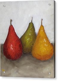 Red Yellow Green Pears Acrylic Print by Patricia Cleasby