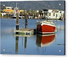 Redboat Acrylic Print by Vari Buendia