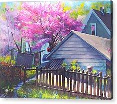 Redbud Tree In Oldtown Springtime Acrylic Print by Bobbi Baltzer-Jacobo