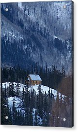 Redcloud Chapel In Blue Acrylic Print by David Ackerson