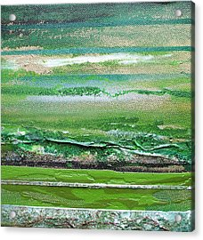Redesdale Rhythms And Textures Series 3 Green And Gold Acrylic Print by Mike   Bell