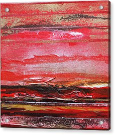 Redesdale Rhythms And  Textures Series  Red And Gold 3 Acrylic Print by Mike   Bell