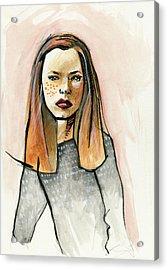 Redhead In Freckled Black Acrylic Print