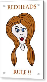 Acrylic Print featuring the drawing Redheads Rule by Frank Tschakert