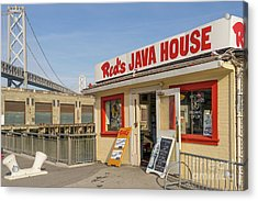 Reds Java House And The Bay Bridge At San Francisco Embarcadero Dsc5761 Acrylic Print