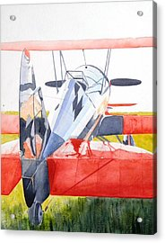 Reflection On Biplane Acrylic Print