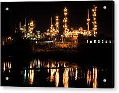 Refinery At Night 1 Acrylic Print