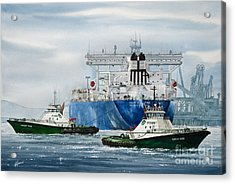 Refinery Tanker Escort Acrylic Print by James Williamson