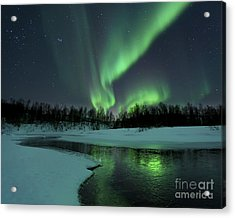 Reflected Aurora Over A Frozen Laksa Acrylic Print by Arild Heitmann