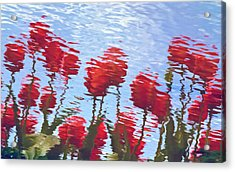 Acrylic Print featuring the photograph Reflected Tulips by Tom Vaughan