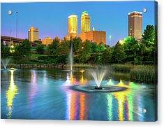 Reflecting Lights Of The Tulsa Skyline Acrylic Print