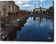 Reflecting On Ancient Pompeii - The Giant Rain Puddle View Acrylic Print