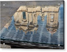 Reflecting On Noto Cathedral Saint Nicholas Of Myra - Sicily Italy Acrylic Print by Georgia Mizuleva