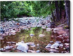 Reflecting Wilderness And Rocky Shorelines Landscape Artwork By  Acrylic Print by Omaste Witkowski