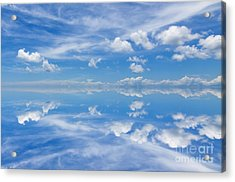 Reflection Of Beautiful Blue Sky With Clouds Acrylic Print by Caio Caldas
