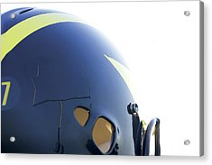 Reflection Of Goal Post In Wolverine Helmet Acrylic Print