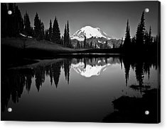Reflection Of Mount Rainer In Calm Lake Acrylic Print by Bill Hinton Photography