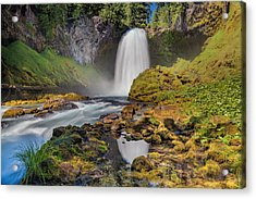 Reflection Of Sahalie Falls Acrylic Print by David Gn