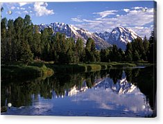 Reflection Of The Teton Mountans Acrylic Print by Richard Nowitz